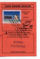 """2008--Carte De Pêche Plastifiée Du Département 86 -Vignette Personne Majeur -cachet  St Benoit """"Brême Poitevine""""--86 - Commemorative Labels"""
