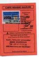 2008--Carte De Pêche Plastifiée Du Département 86 -Vignette Personne Majeure -cachet  CHARROUX --86 - Commemorative Labels