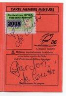 2008--Carte De Pêche Plastifiée Du Département 86 - Vignette Personne Mineure -  COUHE --86 - Erinnophilie