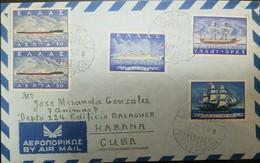 O) 1958 GREECE, OIL TANKER SC 618 -OCEAN LINER SC 619- BYZANTINE VESSEL SC 621 -SALLING SHIP 1820 SC 620, AIRMAIL TO CAR - Greece