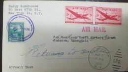 O) 1946 UNITED STATES USA-SKYMASTER SC C32 5c - AIRMAIL G.P.O RETURN -TES,  RECEPTION CARACAS STAMP STATUE OF SIMON BOLI - Etats-Unis