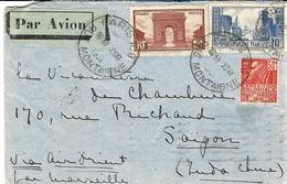 1930- Env. PAR AVION  De Paris  Horoplan Rue Montaigne Pour Saïgon  Affr. à  12,50 F Dont 10 F La Rochelle ( 2è échelon - Marcophilie (Lettres)