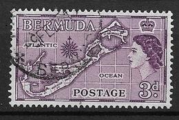 BERMUDA   1953 Local Motives And Queen Elizabeth II   USED   Map Of Bermuda WM4 - Bermuda