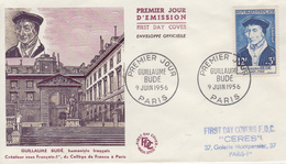 Enveloppe  FDC  1er  Jour   FRANCE   Guillaume  BUDE   1956 - FDC