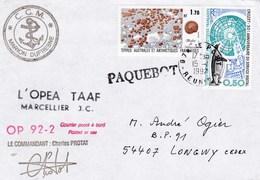 TAAF129 - YT N°155 Et 156 - Marion Dufresne OP 92.2 Posté à Bord - Le Port (Réunion) (15/??/1992) - Französische Süd- Und Antarktisgebiete (TAAF)