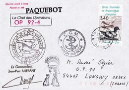 TAAF128 - YT PA N°121 - Marion Dufresne OP 92.4 Posté à Bord - Le Port (Réunion) (20/08/1992) - Französische Süd- Und Antarktisgebiete (TAAF)