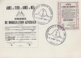 Carte  FRANCE   50éme  Anniversaire  De  La  1ére  GUERRE  MONDIALE    ANNECY  1964 - Guerre Mondiale (Première)