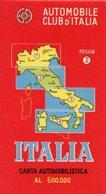 CARTA AUTOMOBILISTICA AL 600.000, Automobile Club D'Italia, Foglio N. 2, 1963 - OTTIMA P53 - Carte Stradali