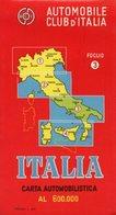CARTA AUTOMOBILISTICA AL 600.000, Automobile Club D'Italia, Foglio N. 3, 1963 - OTTIMA P53 - Carte Stradali