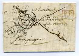 Cursive 58 COULOISY + T14 COMPIEGNE + Dateur A  En PORT PAYE / Dept De L'Oise / 2 Aout 1849   RR - Marcophilie (Lettres)