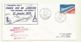 THEME CONCORDE  PREMIER VOL PARIS RIO CACHET PARIS AVIATION 21/01/1976 - 1960-.... Lettres & Documents