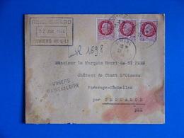RECOMMANDE PROVISOIRE 1944 VIHIERS MAINE ET LOIRE 49 PETAIN 517 X3 - Postmark Collection (Covers)