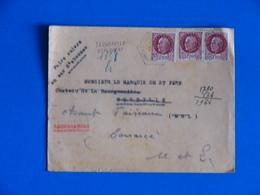 RECOMMANDE PROVISOIRE 1944 LA CHAPELLE ST FLORENT AGENCE POSTALE  MAINE ET LOIRE 49 PETAIN 517 X3 - Postmark Collection (Covers)