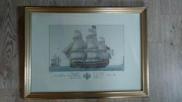 JOLIE  GRAVURE  ENCADREE DIM 53X40 CM VOILIER NAVE INGLEFE SIG WYNDHAM  Brittanica DI 100 CANNONI - Engravings