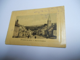 80 SOMME CARTE ANCIENNE EN COULEUR DE 1910 PIERREPONT SUR AVRE ROUTE DE COMPIEGNE EDIT DACHEUX GORRIER - Other Municipalities