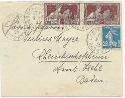 LETTRE 1925 POUR L'ALLEMAGNE AVEC 3 TIMBRES ET CACHET DE LAUTERBOURG - Marcophilie (Lettres)