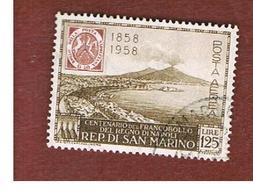 SAN MARINO - UNIF. A121 POSTA AEREA - 1958  CENTENARIO DEI  PRIMI FRANCOOBOLLI DEL REGNO DI NAPOLI   -  USATI (USED°) - Airmail