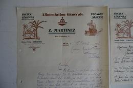 (007) FACTURES DOCUMENTS COMMERCIAUX. 34 HERAULT SETE. Z. MARTINEZ ALIMENTATION GENERALE. ESPAGNE ALGERIE. Fruits. 1932. - Food
