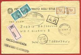 LETTERA VG ITALIA - RACCOMANDATA TASSA A CARICO - Provveditorato - 12 X 18 - ANN. 1975 GORIZIA - STARANZANO - 6. 1946-.. Repubblica