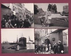 300918A - 4PHOTOS 1958 - 62 CALAIS Les Six Bourgeois Vélo Le Tour De France Cyclisme Le Port Paquebot Nortain - Calais