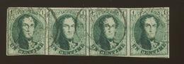 Bande De 4 Du 1c  N°9  L'ex De Droite Est Extra Beau  Cote 875,-Euros - 1858-1862 Medaillons (9/12)