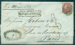 INDE N°24 T1 Sur Lettre De CALCUTTA Pour PARIS Avril 1857 Arr Le 18 Mai. Taxée 8.jolie Lettre - Inde (...-1947)