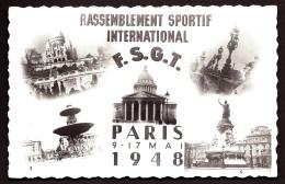 CP-PHOTO ANCIENNE FRANCE- PARIS (75)- RASSEMBLEMENT SPORTIF INTERNATIONAN- PARIS 1948- 5 MONUMENTS - Francia
