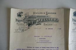 (014) FACTURES DOCUMENTS COMMERCIAUX. 13 BOUCHE DU RHONE SALON DE PROVENCE. T. PELLIER. Huiles, Savons.1933. - Alimentare