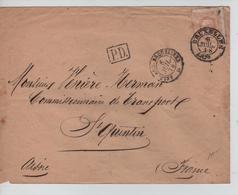 PR6003/ TP 33 S/L.c.Bruxelles 6/7/1873 Gff PD Belg Ambt Erquelinnes V.France St.Quentin C.d'arrivée - Ambulants