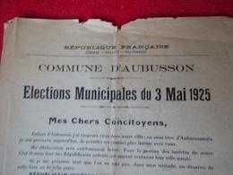 Aubusson (Creuse) Elections Municipales Du 3 Mai 1925 - Aubusson