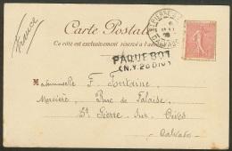 Carte Paquebot Transatlantique Avec Marque PAQUEBOT - Depart New York Pour St Pierre Sur Dives Calvados - Postmark Collection (Covers)