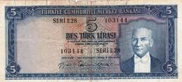 "TURKEY 5 LIRA LIRASI L.1930 (8/6/1959) VG-F P-155a ""free Shipping Via Registered Air Mail"" - Turquie"