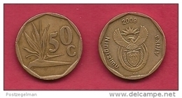 SOUTH AFRICA, 2009, 3 Off Nicely Used Coins 50 Cent C2086 - South Africa