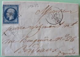 19673# TARN ET GARONNE LETTRE Obl PC CAUSSADE 1859 Pour BORDEAUX GIRONDE - 1849-1876: Klassieke Periode
