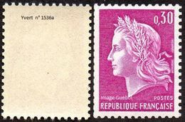 France Marianne De Cheffer N° 1536 A ** Roulette - La République Le 0fr30 Lilas Gravé, Variété Gomme Tropicale - 1967-70 Marianna Di Cheffer
