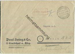 Brief Aus Ernstthal Am Rennsteig Vom 16.10.1945 Mit 'Gebühr Bezahlt' Stempel Und Signum '12' B4a In Violett - Zone Soviétique