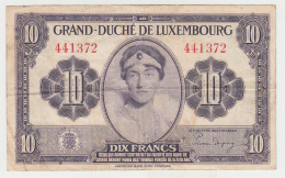 Luxembourg 10 Francs 1944 VF+ CRISP Banknote WWII Pick 44 - Luxembourg
