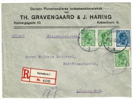 RB 1225 - 1916 Denmark Registered Cover - 35 Ore Rate To Leipzig Germany - Covers & Documents