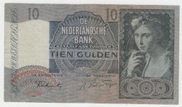 Netherlands 10 Gulden 1941 VF CRISP Pick 56b 56 B - 10 Gulden