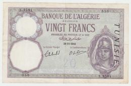 TUNISIA 20 FRANCS 1941 F+ PICK 6b - Tunisie