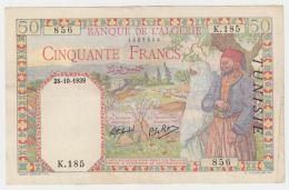 Tunisia Tunisie 50 Francs 1939 VF+ Pick 12 - Tunisia