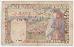 Tunisia Tunisie 50 Francs 1941 VG Pick 12 - Tunesien