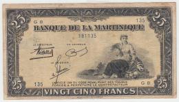 Martinique 25 Francs 1943 - 1945 AVF Pick 17 - Guyane Française