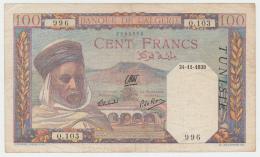 Tunisia Tunisie 100 Francs 1939 VF Banknote P 13a 13 A - Tunisia