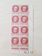 Rare ! Bloc De 8 Bersier 1f50 Coin Daté Avec Coupure Ayant Entrainé Pliage Et Piquage Diagonal - 1941-42 Pétain