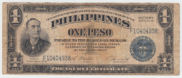 Philippines 1 Peso 1944 VF Victory Over Japan WW 2 - Series E Pick 94 - Philippines