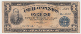 Philippines 1 Peso 1944 VF Victory Over Japan WW 2 - Series J Pick 94 - Filipinas
