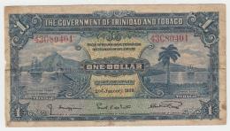 """TRINIDAD & TOBAGO 1 Dollar 1939 """"""""F"""""""" Banknote Pick 5b 5 B - Trinidad Y Tobago"""