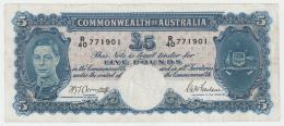Australia 5 Pounds 1941 VF Pick 27b  27 B - Emissions Gouvernementales Pré-décimales 1913-1965