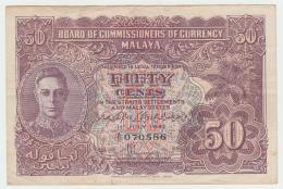 MALAYA 50 CENTS 1941 (1945) VF++ Pick 10a  10 A - Malaysie